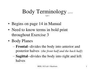 Body Terminology rev 9-11 Lab 1