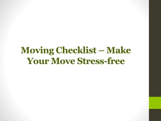 Toronto Moving Checklist - Make Your Move Stress-free