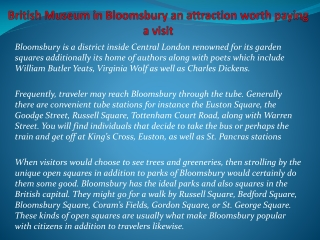 British Museum in Bloomsbury an attraction worth paying a vi