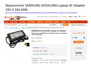 Samsung 0335A1960 Laptop AC Adapter