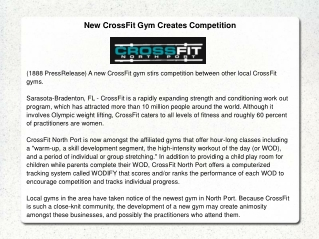 New CrossFit Gym Creates Competition