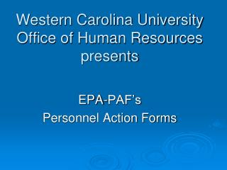 Western Carolina University Office of Human Resources presents
