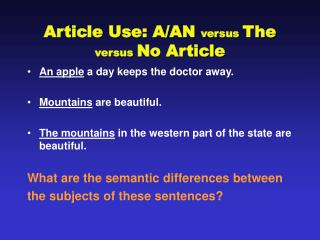 Article Use: A