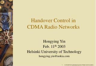 Handover Control in CDMA Radio Networks