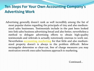 Ten Steps For Your Own Accounting Company's advertising Work