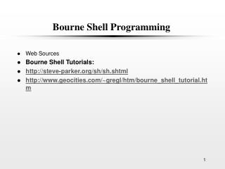 Bourne Shell Programming