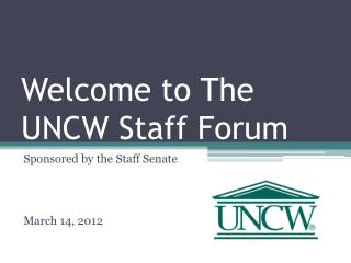 Welcome to The UNCW Staff Forum