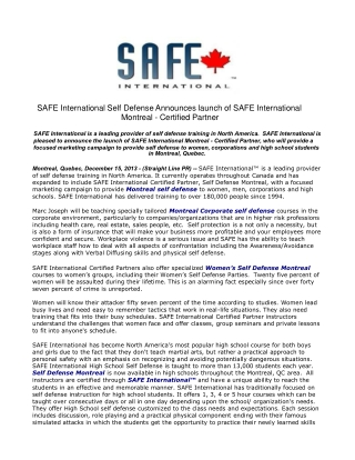SAFE International Self Defense Announces launch of SAFE Int