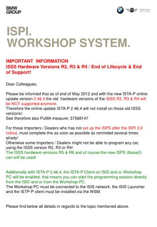 ISPI. Workshop system.