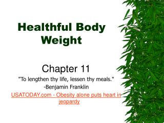 Healthful Body Weight