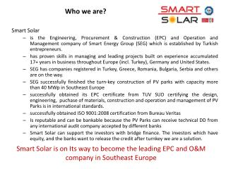Smart Solar is on Its way to become the leading EPC and OM company in Southeast Europe