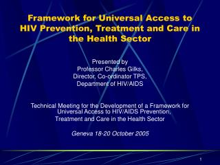 Framework for Universal Access to HIV Prevention, Treatment and Care in the Health Sector