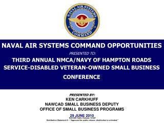 NAVAL AIR SYSTEMS COMMAND OPPORTUNITIES   PRESENTED TO: THIRD ANNUAL NMCA