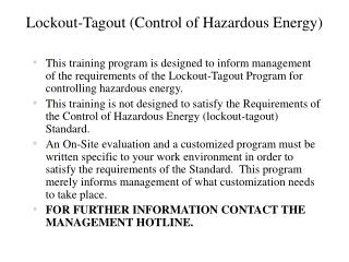 Lockout-Tagout Control of Hazardous Energy