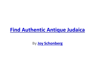 Find Authentic Antique Judaica