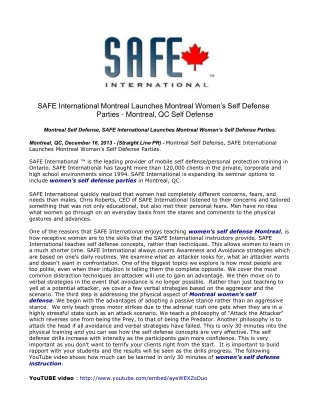 SAFE International Montreal Launches Montreal Women