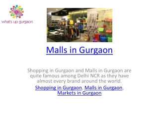 Malls in Gurgaon
