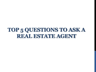 Questions to Ask Calgary Real Estate Agents