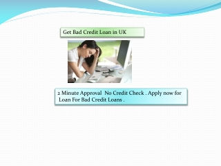 Get Bad Credit Loan in UK