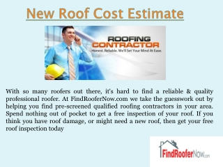 Roof Installation Estimate