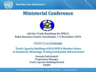 Ministerial Conference      Aid-for-Trade Roadmap for SPECA Baku Business Center, Azerbaijan, 1-2 December 2010  UNIDO P