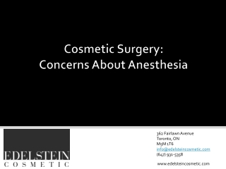 Anesthesia Concerns with Cosmetic Surgery