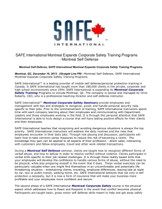 SAFE International Montreal Expands Corporate Safety Trainin