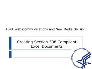 Creating Section 508 Compliant Excel Documents