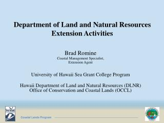 Department of Land and Natural Resources Extension Activities