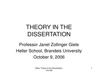 theory in the dissertation