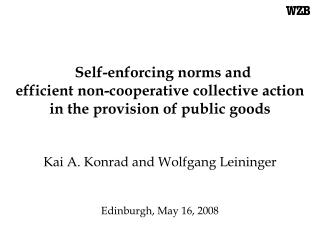 Self-enforcing norms and  efficient non-cooperative collective action  in the provision of public goods       Kai A. Kon