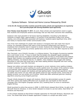 Dyslexia Software - School and Home License Released by Ghot