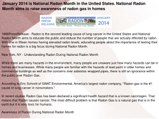 January 2014 is National Radon Month in the United States.