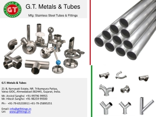 SS Fittings, TC Fittings Manufacturer - GT Metals and Tubes