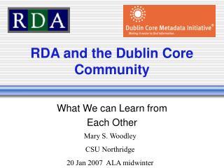 RDA and the Dublin Core Community