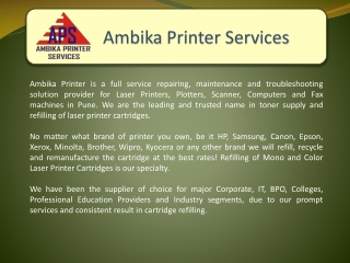 Ambika Printers, Plotters and Laptop Repairing Services Pune