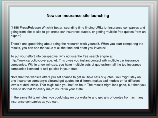 New car insurance site launching