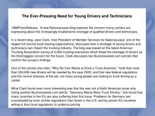 The Ever-Pressing Need for Young Drivers and Technicians