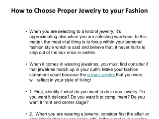 How to Choose Proper Jewelry to your Fashion