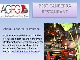 Best Canberra Restaurants in Australia