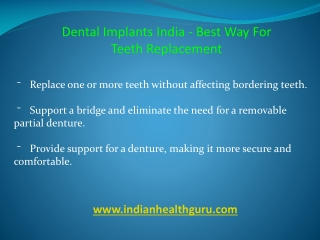 Dental Implants Benefit in India