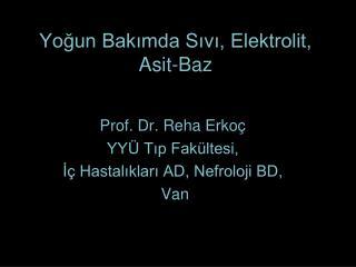 Yogun Bakimda Sivi, Elektrolit, Asit-Baz