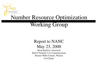 Number Resource Optimization Working Group
