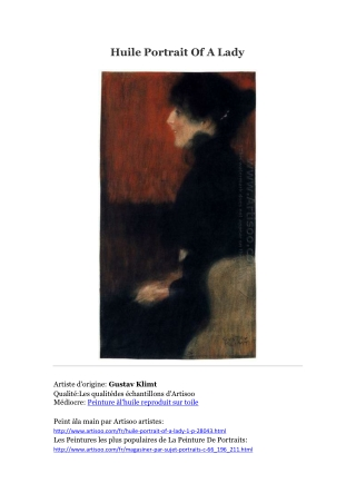 Huile Portrait Of A Lady -- Artisoo
