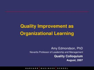 Quality Improvement as Organizational Learning