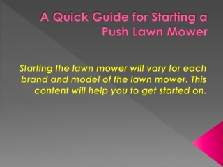 A Quick Guide for Starting a Push Lawn