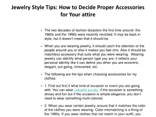 Jewelry Style Tips: How to Decide Proper Accessories for You