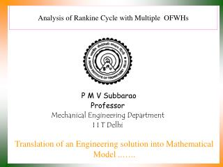 Analysis of Rankine Cycle with Multiple  OFWHs