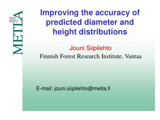 Improving the accuracy of predicted diameter and height distributions