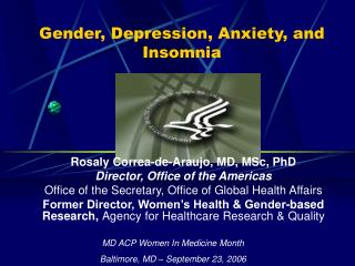 Gender, Depression, Anxiety, and Insomnia